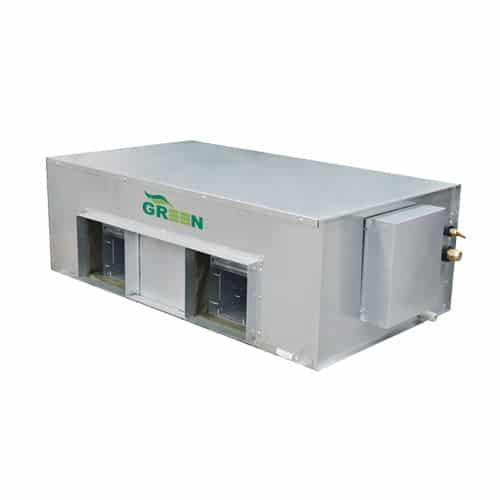 VRF indoor unit GRV greenac high esp duct سقفی توکار با فشار استاتیکی بالا یونیت داخلی VRF گرین مدل سقفی توکار با فشار استاتیکی بالا در 8 ظرفیت 38-42-48-52-76-96-154-192 Btu/h تولید و به بازار ارائه میگردد. ظرفیتهای 154 و 192 با برق سه فاز و باقی ظرفیتها با برق تکفاز کار میکنند.