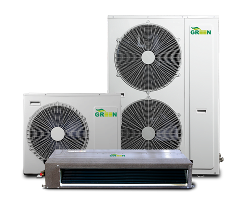 1ductsplit Full DC Inverter r410a greenac داکت اسپلیت اینورتر داکت اسپلیت اینورتر یا اسپلیت های کانالی کم مصرف با تامین هوای خنک در تابستان و تامین هوای گرم در زمستان برای کلیه فضاها در یک واحد آپارتمان و انتقال هوای سرد یا گرم توسط کانالهای اجرا شده در داخل سقف کاذب، دمای محیط مورد نظر را به شرایط آسایش و دلخواه تنظیم شده ی ترموستات می رساند.