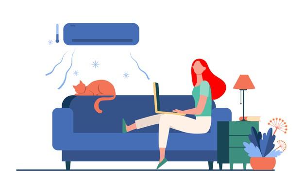 woman sitting sofa with cat laptop air conditioner girl cooling couch flat vector illustration home freelance 74855 8690 محاسبه ظرفیت کولر گازی با 1 مثال واقعی! اصلی ترین مسئله در خرید کولر گازی اسپلیت مناسب برند آن نیست! بلکه تناسب کارایی کولر با شرایط محیطی و آب و هوایی محل استفاده آن است. محیط کاربری کولر گازی مسکونی است یا اداری-تجاری؟ تعداد نفراتی که در آن محل رفت و آمد می کنند چند نفر است؟ شهر شما گرمسیری است یا سردسیری؟ شاید باورکردنی نباشد که شمالی یا جنوبی بودن محل استقرار کولر گازی نیز در انتخاب مناسب موثر است. در ادامه با ذکر یک مثال سعی می کنیم اطلاعات شما را در این زمینه افزایش داده و شما را برای انتخاب هر چه بهتر و محاسبه ظرفیت کولر گازی مناسب راهنمایی کنیم.